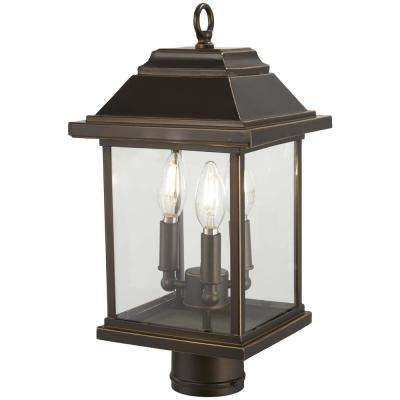 Mariner's Pointe Collection 3-Light Outdoor Oil Rubbed Bronze Post Light with Gold Highlights