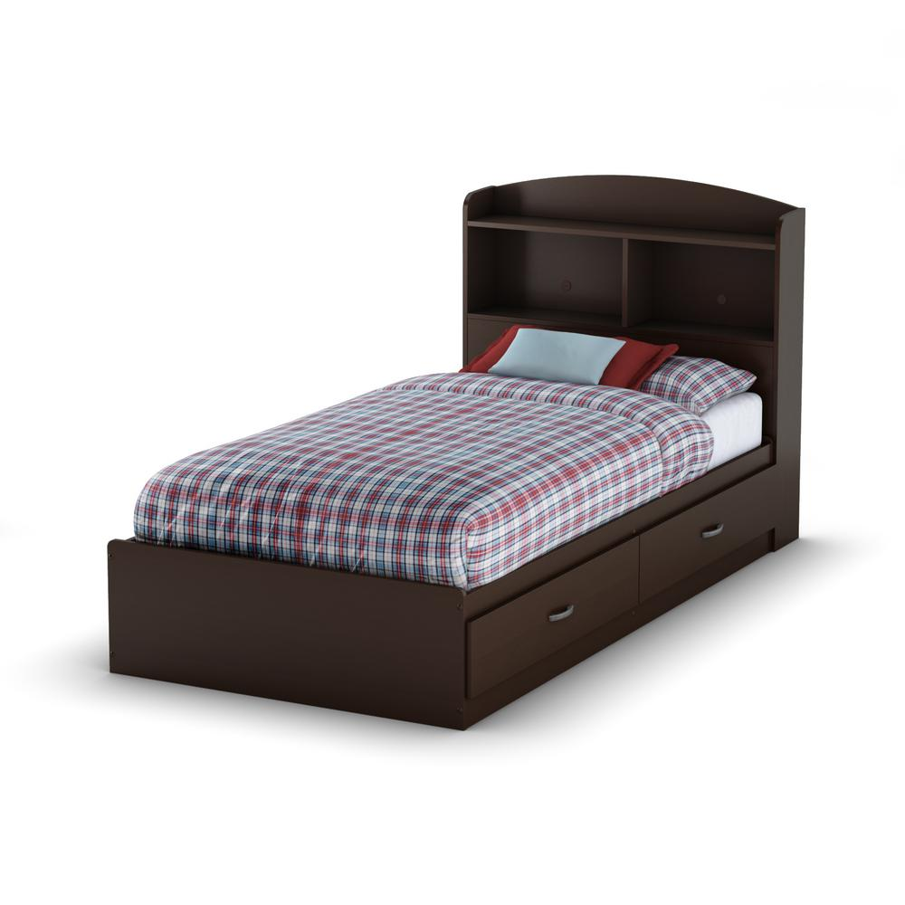 South Shore Logik 2-Drawer Twin-Size Storage Bed in Chocolate