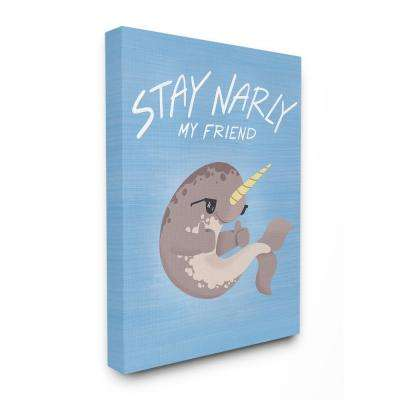 "30 in. x 40 in. ""Stay Narly Narwhal Fun Sunglasses Blue"" by Kiel Evins Canvas Wall Art"