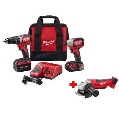 M18 18-Volt Lithium-Ion Cordless Compact Brushless Hammer Drill/Impact Combo Kit w/ Free M18 Cut-Off/Grinder