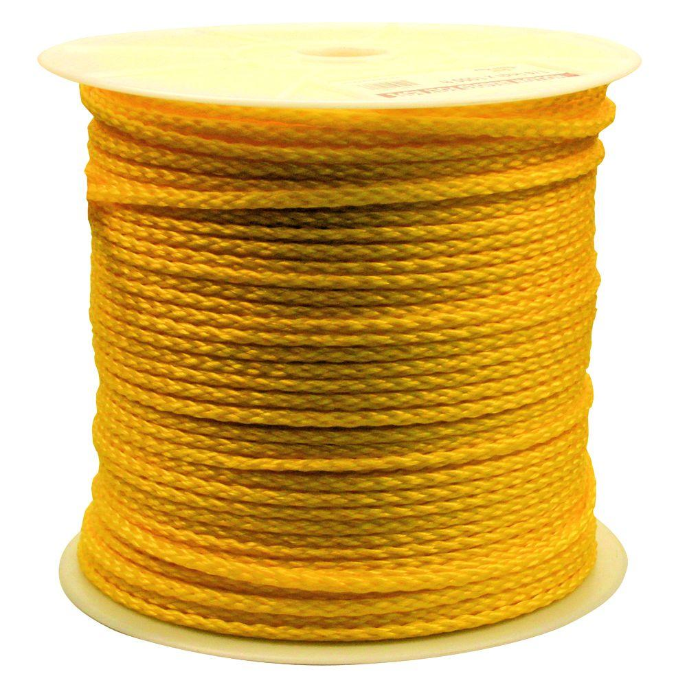 Rope King 1/4 in. x 1000 ft. Hollow Braided Rope Yellow