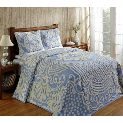 Florence Collection in Medallion Design Blue Queen 100% Cotton Tufted Chenille Bedspread