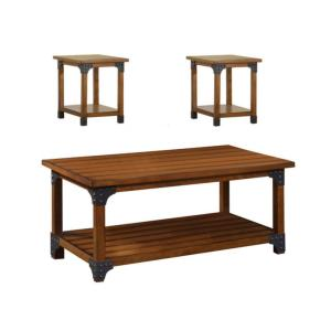 Bozeman 3-Piece 46 in. Antique Oak Large Rectangle Wood Coffee Table Set with Shelf