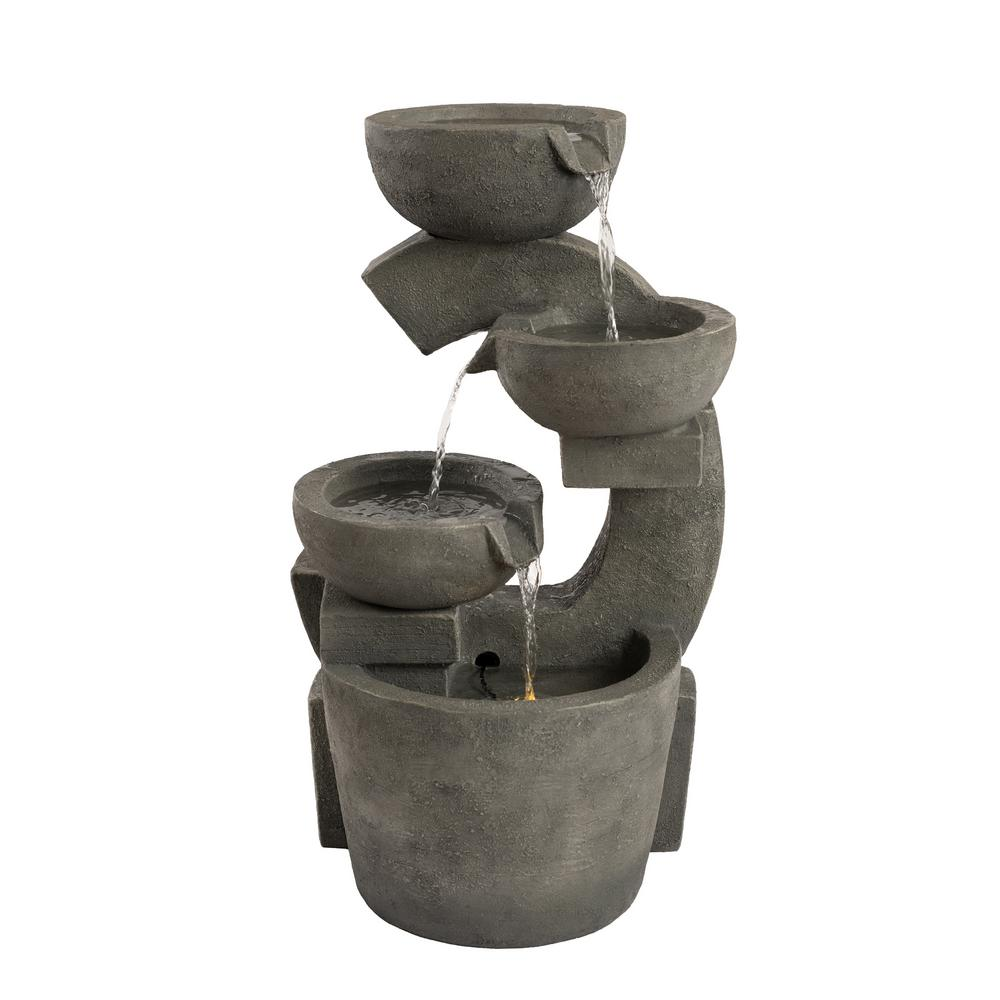 Pure Garden 4-Tier Modern Decorative Bowl Cascading Water Fountain with LED Lights