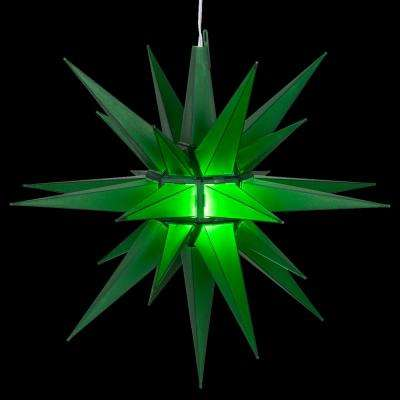 14 in. Illuminated LED Green Holiday Moravian Star