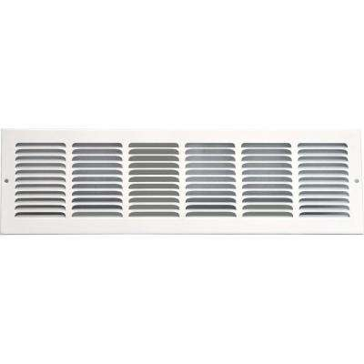 24 in. x 6 in. Return Air Vent Grille, White with Fixed Blades