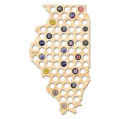 24 in. x 13 in. Large Illinois Beer Cap Map