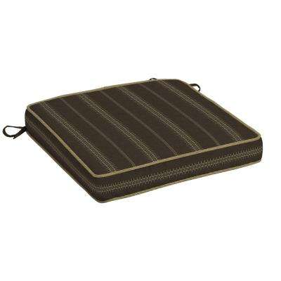 Trevor Stripe Espresso Outdoor Seat Cushion (Pack of 2)