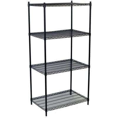 86 in. H x 36 in. W x 24 in. D 4-Shelf Steel Wire Shelving Unit in Black