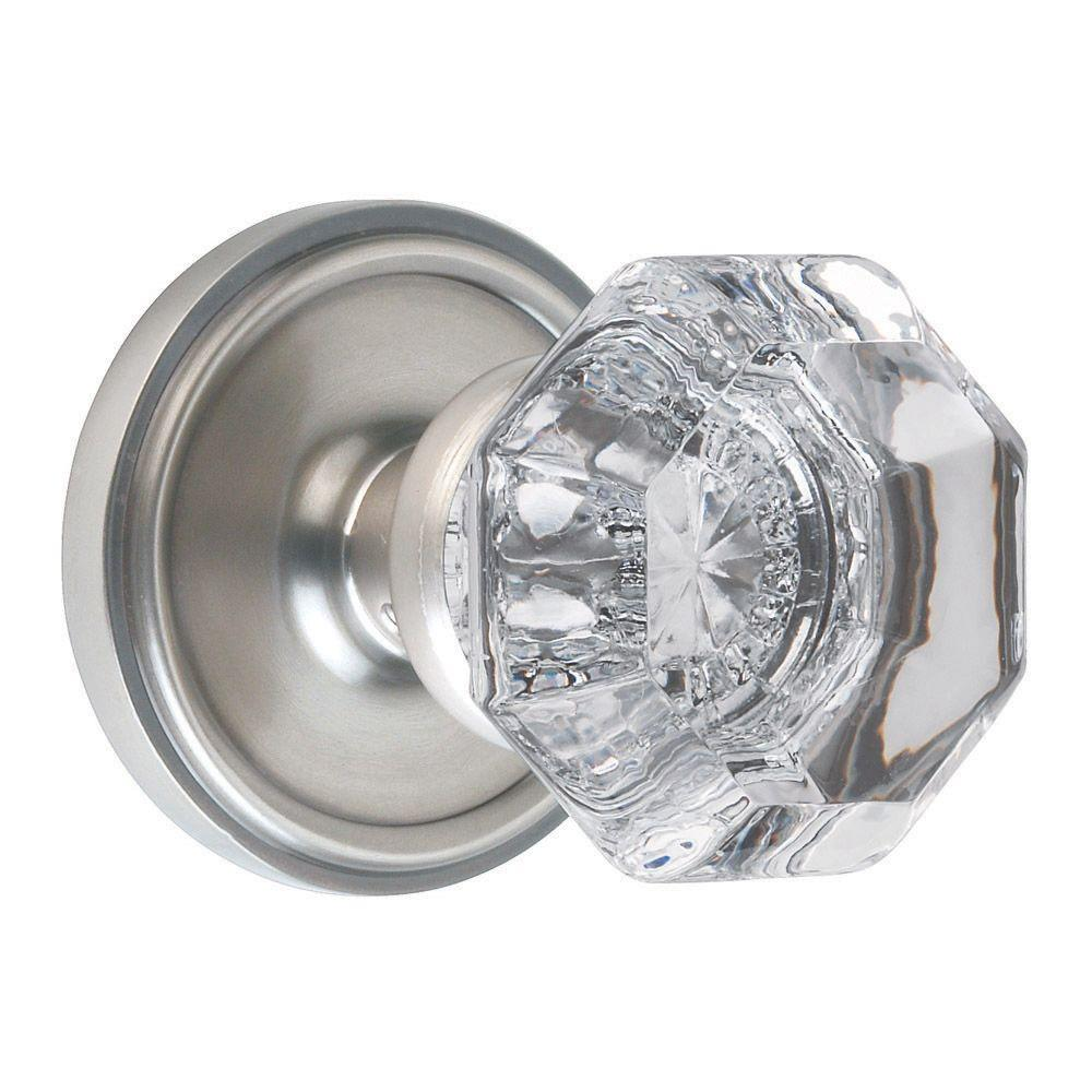 Nostalgic Warehouse Satin Nickel Waldorf Crystal Full Dummy Knob