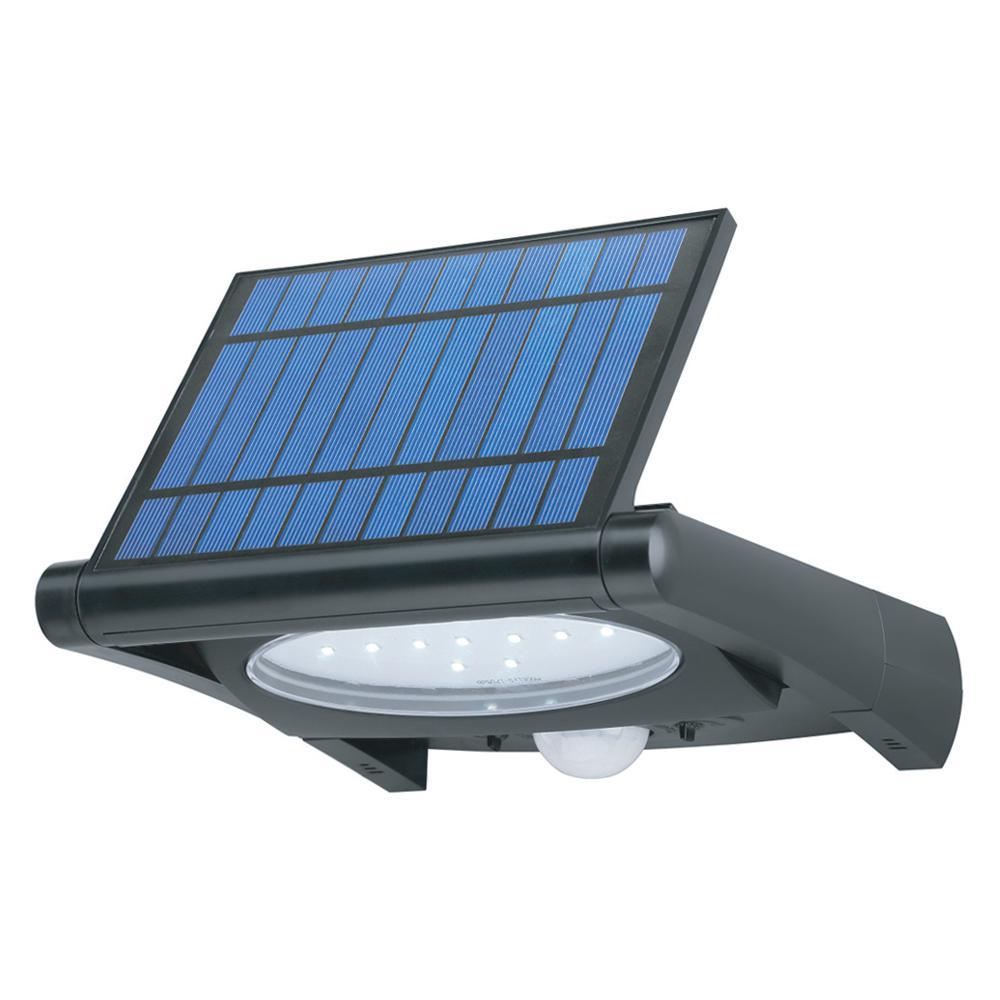 Super Bright Black 320-Lumen Motion Activated Outdoor LED 6500K Solar Powered Landscape Flood Light