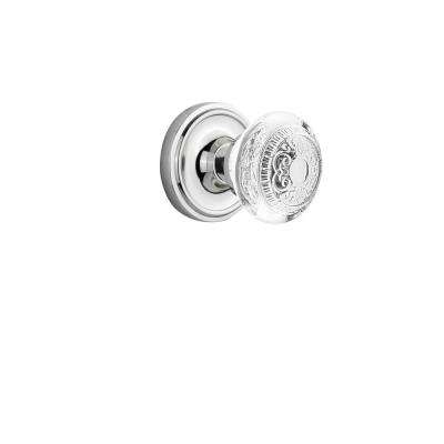 Classic Rosette 2-3/4 in. Backset Bright Chrome Privacy Bed/Bath Crystal Egg and Dart Door Knob