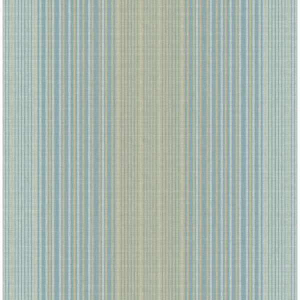 Seabrook Designs Jeannie Metallic Gold and Sky Blue Striped Wallpaper RL60504