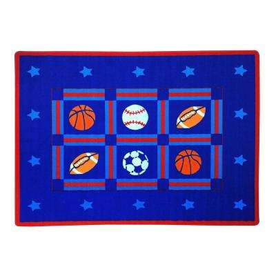 Paradise Sports Design Blue 4 ft. 11 in. x 6 ft. 10 in. Area Rug