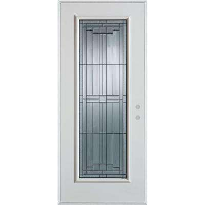 37.375 in. x 82.375 in. Architectural Full Lite Painted White Left-Hand Inswing Steel Prehung Front Door