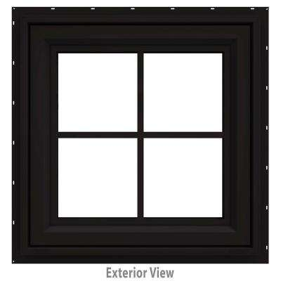 24 in. x 24 in. V-4500 Series Black FiniShield Vinyl Awning Window with Colonial Grids/Grilles
