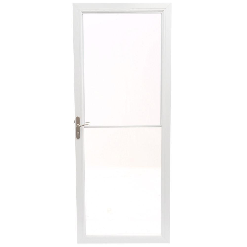 32 in. x 80 in. 2500 Series White Universal Self-Storing Aluminum Storm Door with Nickel Hardware