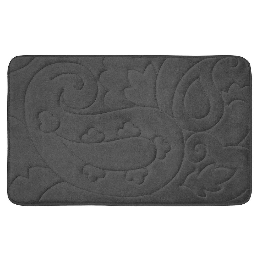 BounceComfort Pelton Dark Gray 20 in. x 32 in. Memory Foam Bath Mat
