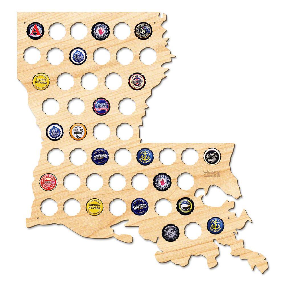 17 in. x 16 in. Large Louisiana Beer Cap Map