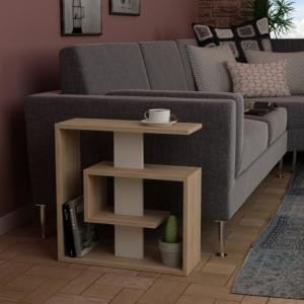 Living Room Modern Side Table Design.Stacy Oak And White Modern Side Table