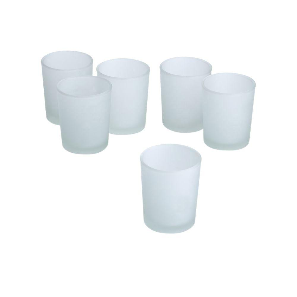Light In The Dark White Frosted Glass Round Votive Candle Holders Set Of 36