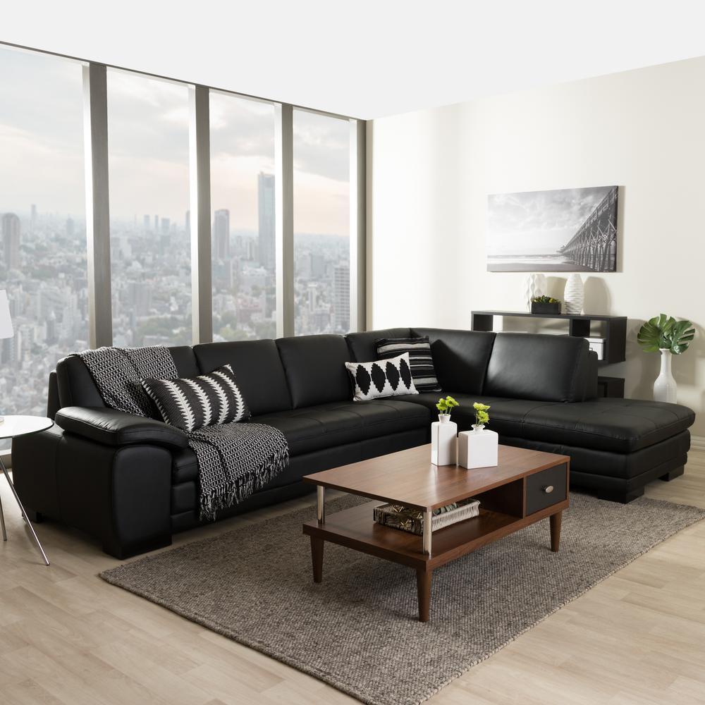 Baxton studio diana 2 piece contemporary black faux for 2 piece black sectional sofa