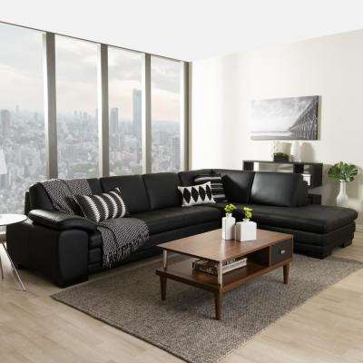 sectionals living room furniture. Diana 2 Piece Contemporary Black Faux Leather Upholstered Right Facing  Chase Sectional Sofa Sectionals Living Room Furniture The Home Depot