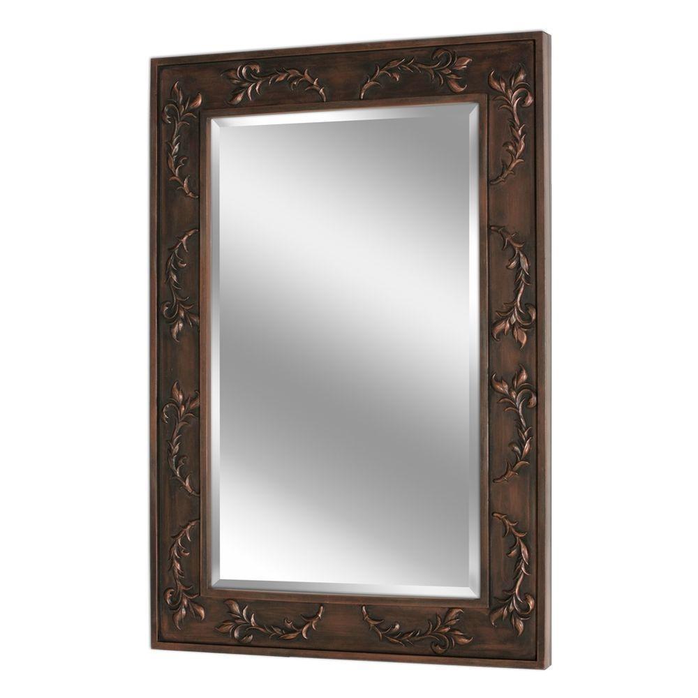 Deco Mirror 38 in. x 26 in. Classic Scroll Mirror in Bronze