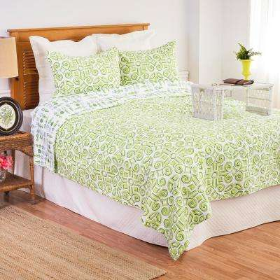 Green Boxwood Abbey King Quilt Set