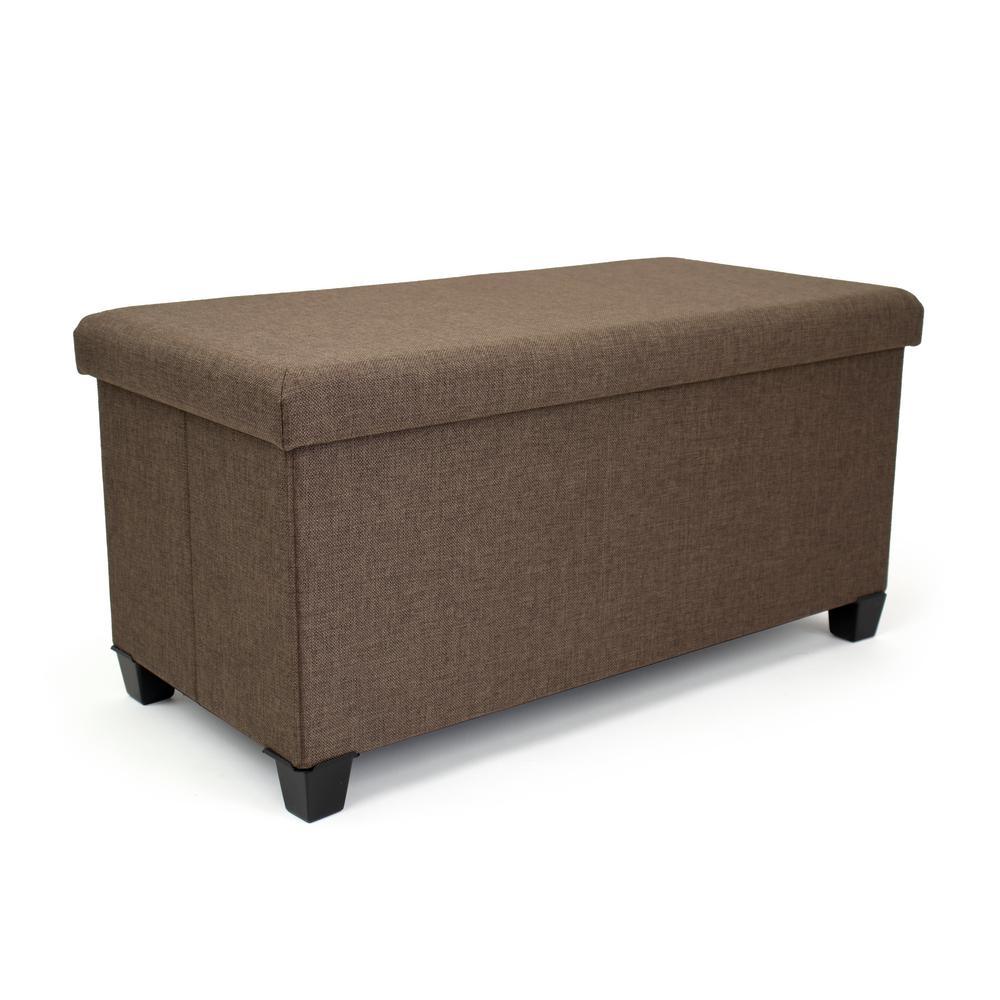 Rectangular Brown Storage Fabric Ottoman Bench