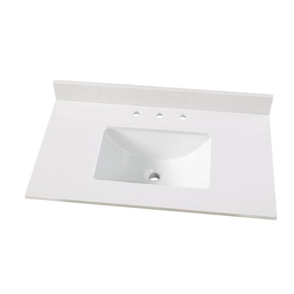37 in. W x 22 in. D Engineered Marble Vanity Top in Snowstorm with White Single Trough Sink