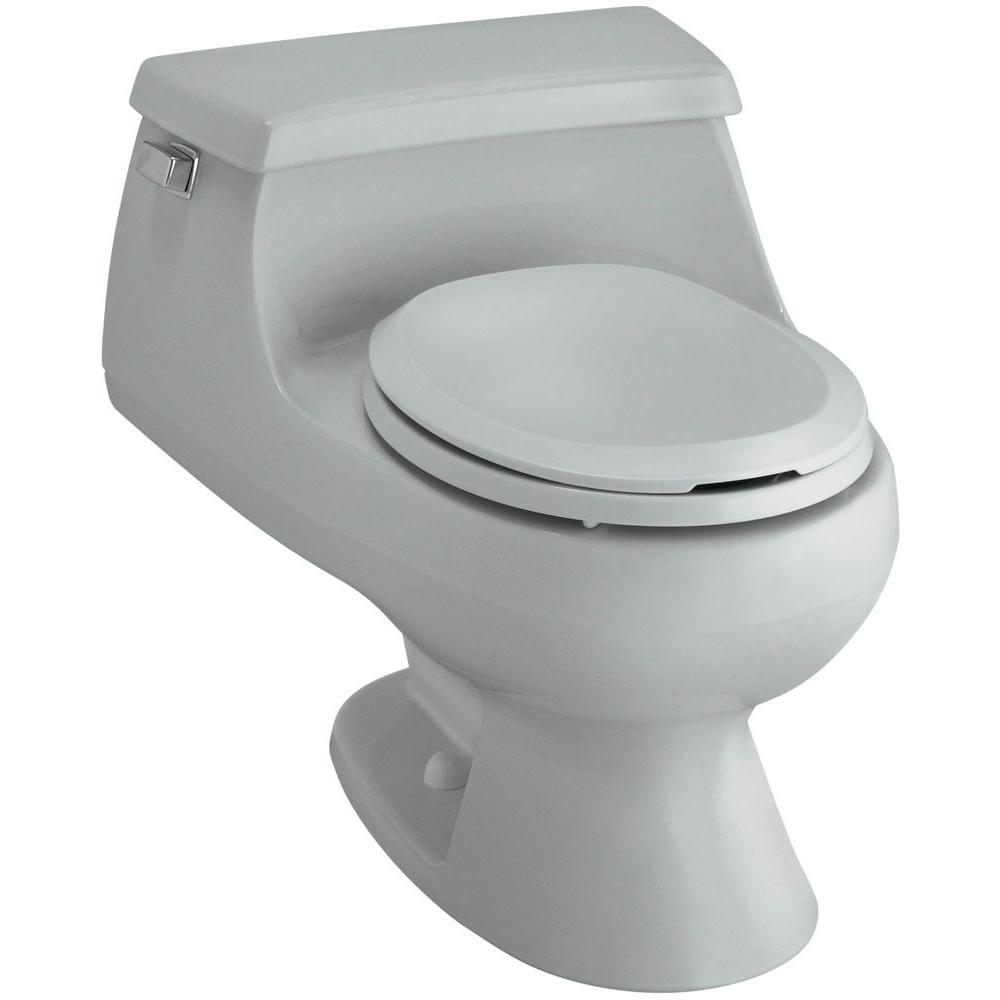 KOHLER Rialto 1-piece 1.6 GPF Single Flush Round Toilet in Ice Grey
