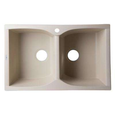 Drop-In Granite Composite 31.13 in. 1-Hole 50/50 Double Bowl Kitchen Sink in Biscuit