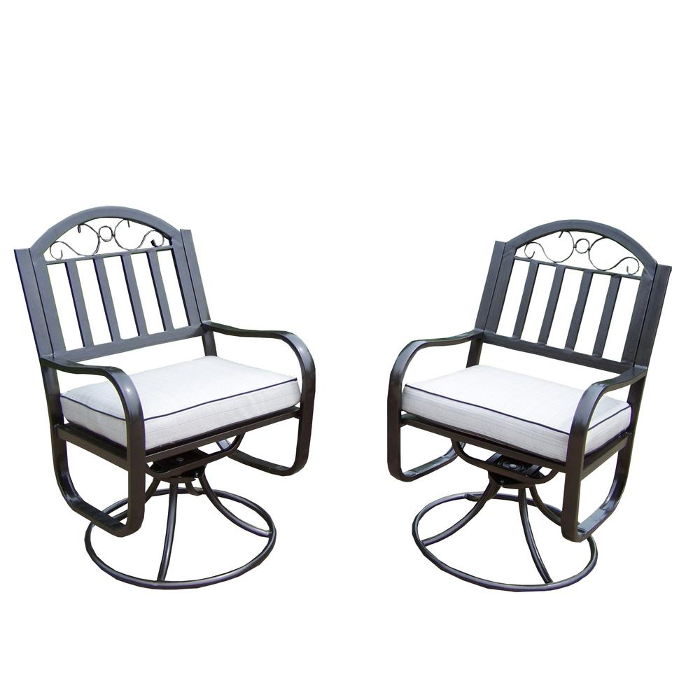 Rochester Aluminum Outdoor Dining Chair with Oatmeal Cushion (2-Pack)