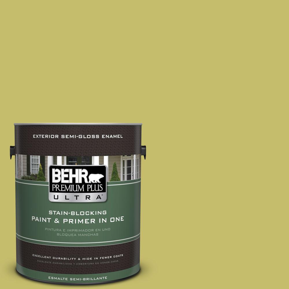 BEHR Premium Plus Ultra 1-gal. #P350-5 Go Go Lime Semi-Gloss Enamel Exterior Paint