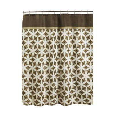 Oxford Weave Textured 70 in. W x 72 in. L Shower Curtain with Metal Roller Rings in HarajukuChocolate