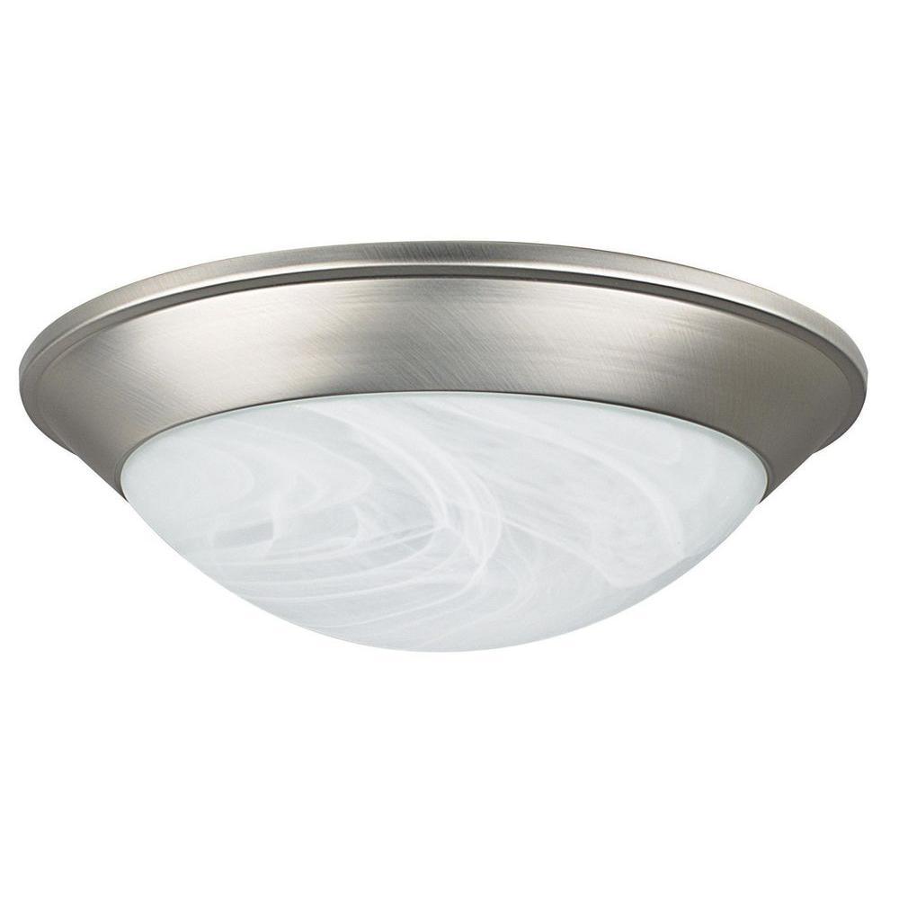 2-Light Satin Nickel Indoor Ceiling Flushmount Fixture