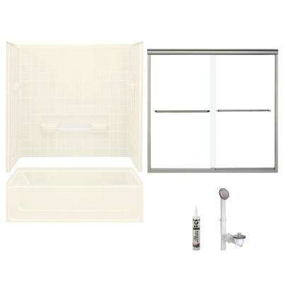 All Pro 30 in. x 60 in. x 72.75 in. Bath and Shower Kit with Right-Hand Drain in Biscuit and Brushed Nickel