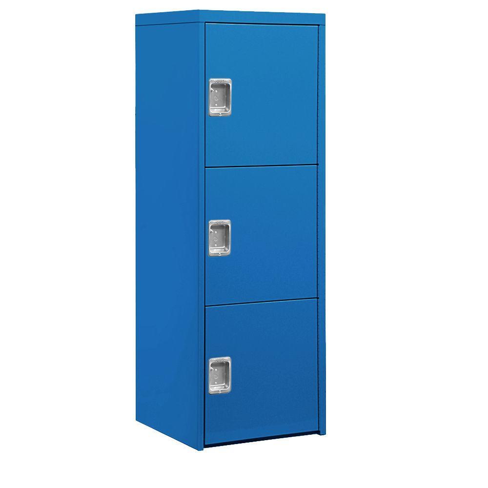 24 in. W x 72 in. H x 24 in. D 3-Doors Industrial Storage Cabinet in Blue