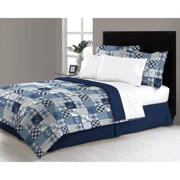 Lorena Reversible 8-Piece Blue Modern Patchwork Queen Bed in a Bag Set