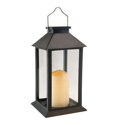 Traditional Black Solar Powered Lantern with LED Candle
