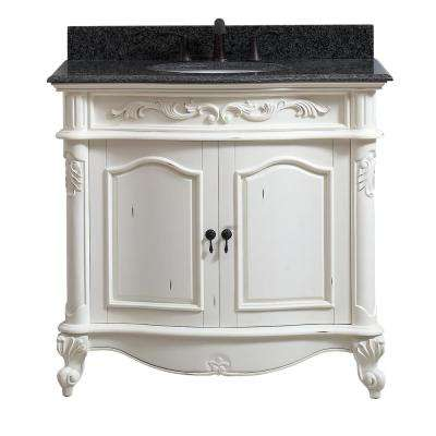Provence 37 in. W x 22 in. D x 35 in. H Bath Vanity in Antique White with Granite Vanity Top in Impala Black with Basin