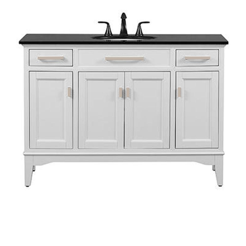 Home Decorators Collection Manor Grove 49 in. W Bath Vanity in White with Granite Vanity Top in Black with White Sink