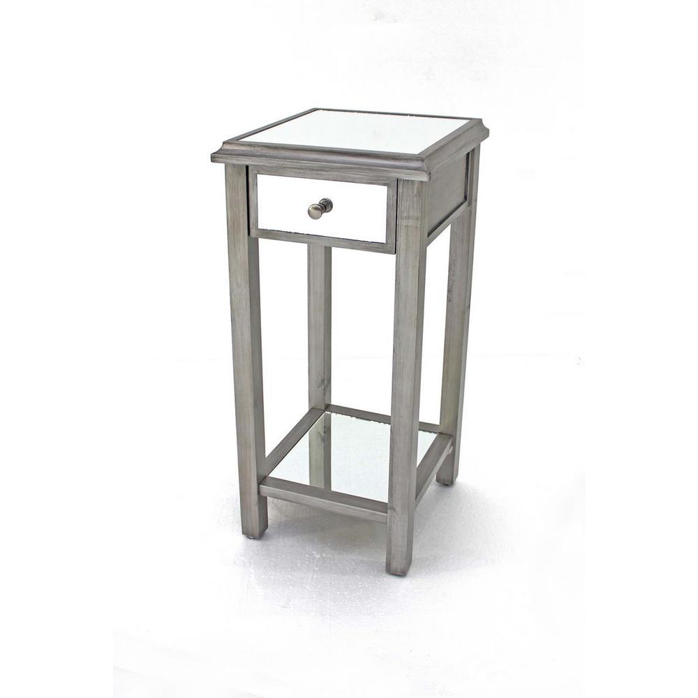 Exceptional Grey Wood Mirror End Table With Drawer