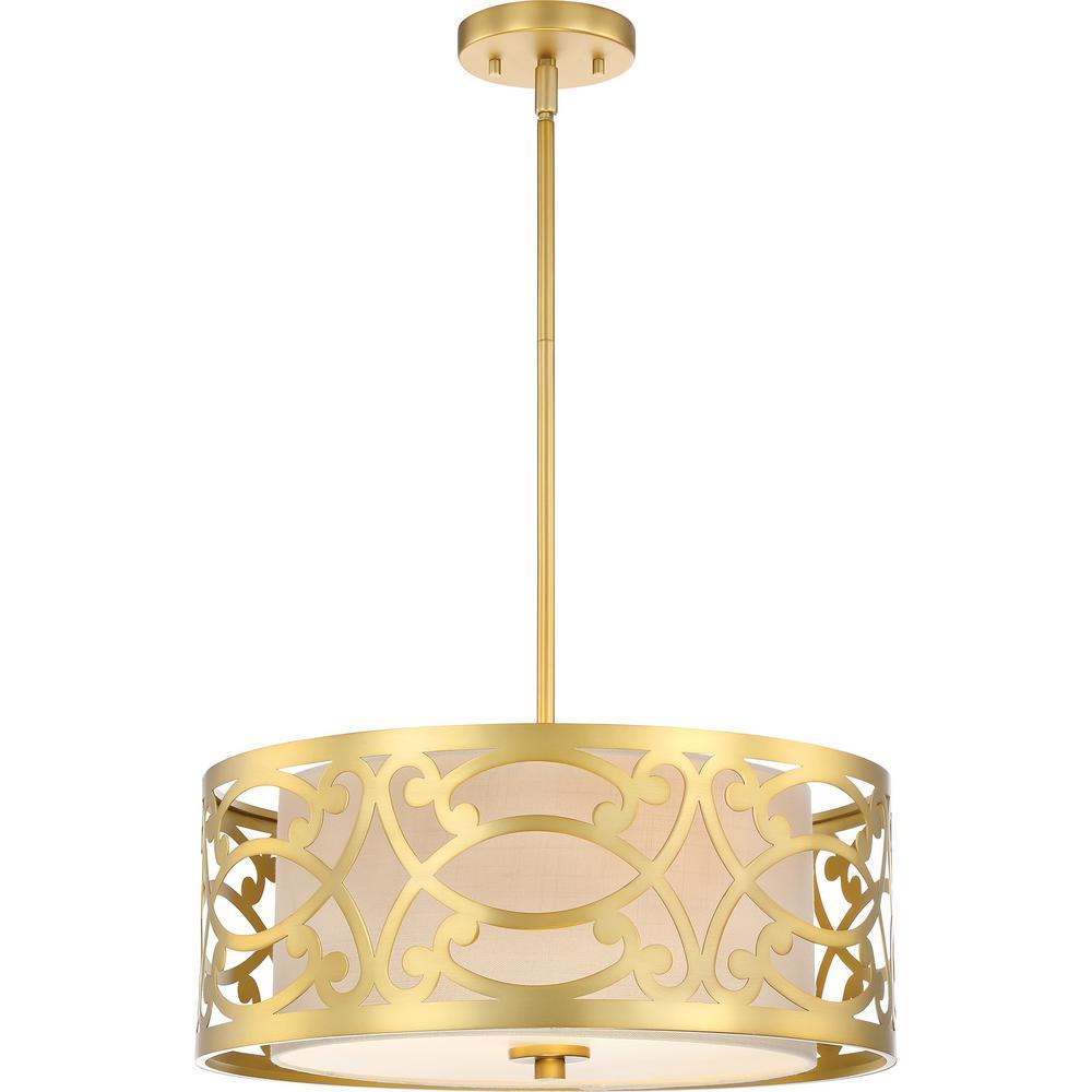 3-Light Natural Brass Pendant