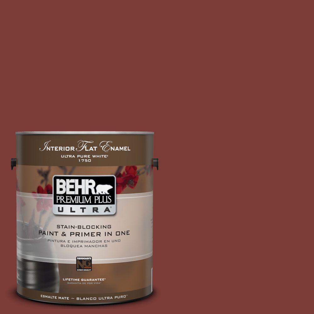 BEHR Premium Plus Ultra 1-Gal. #UL120-22 Red Pepper Interior Flat Enamel Paint
