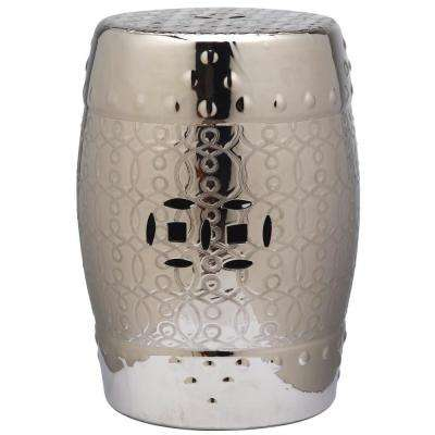 Lantana Plated Silver Garden Patio Stool