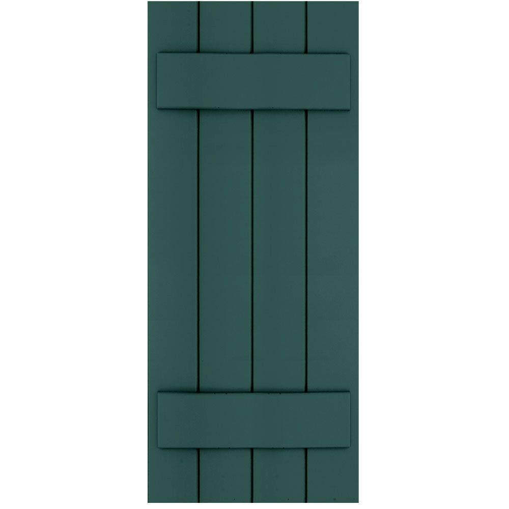 Winworks Wood Composite 15 in. x 37 in. Board & Batten Shutters Pair #633 Forest Green