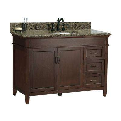 Ashburn 49 in. W x 22 in. D Bath Vanity in Mahogany with Right Drawers with Granite Vanity Top in Quadro