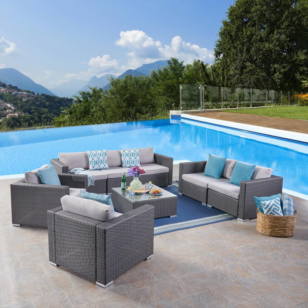 Noble House Santa Rosa Gray 8-Piece Wicker Patio Conversation Set with Silver Cushions